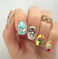Decoración de uñas inspiradas en Frida Kahlo