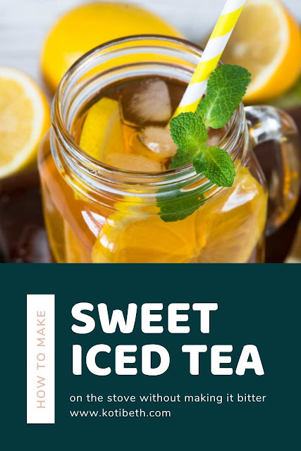 How to make iced tea on the stove.  Make it sweet or unsweetened or use a sugar alternative like coconut sugar. Recipes homemade like this one taste better and save you money.  This uses Lipton black tea, but you can use other kinds of tea. This makes the perfect best homemade tea that isn't bitter. Makes a recipe gallon for a crowd. Make DIY home made recipes at home on the stove for less than you buy it at the store. #icedtea #sweettea