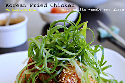 Korean Fried Chicken with garlic wasabi soy glaze