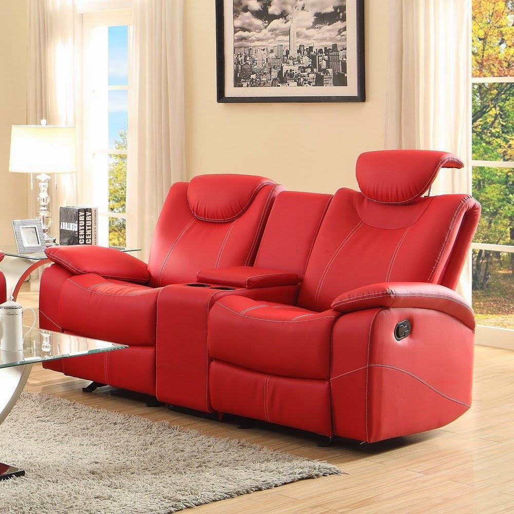 Homelegance Talbot Red Leather Dual Reclining Sofa