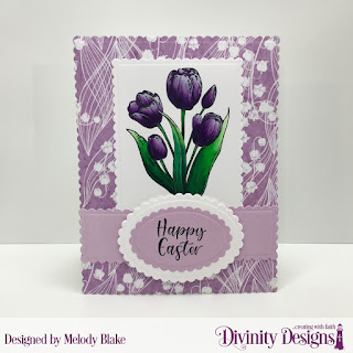 Divinity Designs Stamp Set: Glorious Easter, Custom Dies: Scalloped Rectangles, Scalloped Ovals, Paper Collection: Spring Flowers 2019