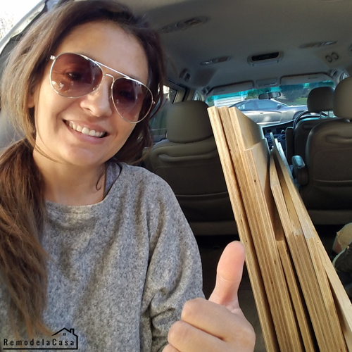 Cristina Garay with load of plywood in her minivan