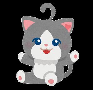 猫のキャラクター(グレー)