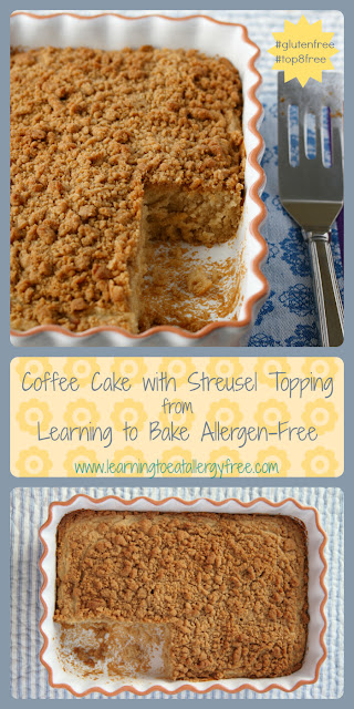 This yummy Coffee Cake from Learning to Bake Allergen-Free is made without gluten, dairy, eggs, soy, or nuts!