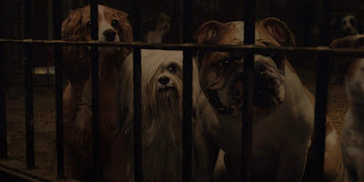 "In ""Lady and the Tramp,"" three dogs named Lady (Tessa Thompson), Peg (Janelle Monáe), and Bull (Benedict Wong), are stuck behind bars at the dog pound after being captured on the street."