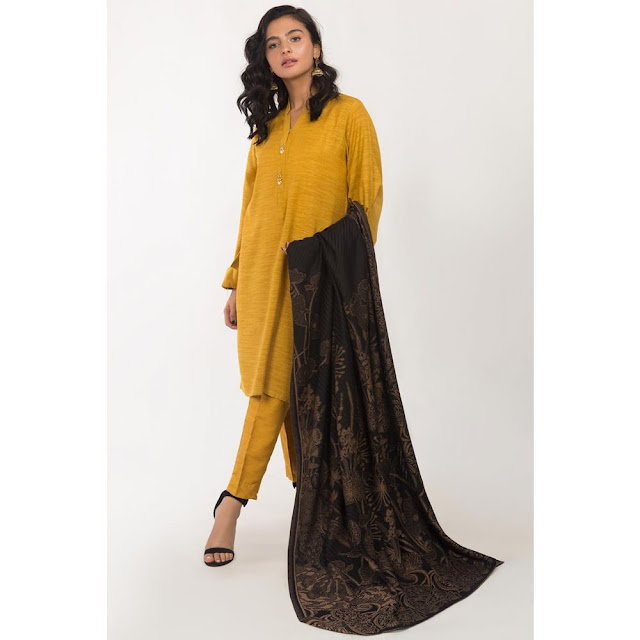Ready to Wear yellow color viscose suit winter collection