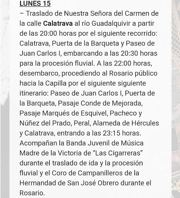 Procesión fluvial a Ntra. Sra. del Carmen de Calatrava a partir de las 20h en Sevilla: Horarios e Itinerarios