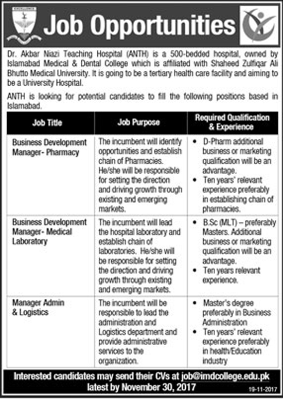 Managers Jobs In Dr Akbar Niazi Teaching Hospital Islamabad Nov 2017