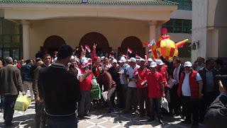 توافد العاملين لحضور مؤتمر نقابة البترول لدعم التعديلات الدستورية بالإسكندرية