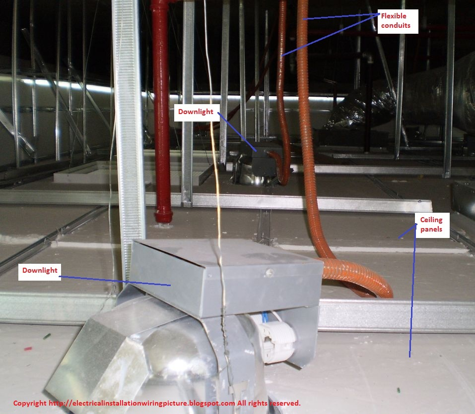 Electrical Installation Wiring Pictures Lighting Flexible Conduits Ceiling On Light Diagram Group Picture Image By
