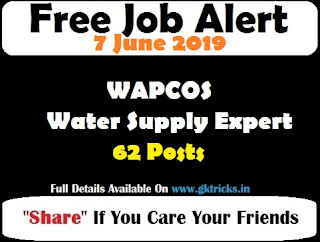 WAPCOS Water Supply Expert Recruitment 62 Posts