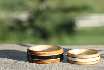 Apple wood and 150 year old Post Oak Rings with willow, mother of pearl and anthracite coal inlays.
