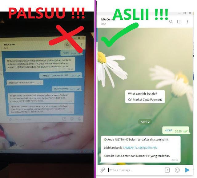 Perbedaan Center Telegram Asli dan Palsu Market Pulsa