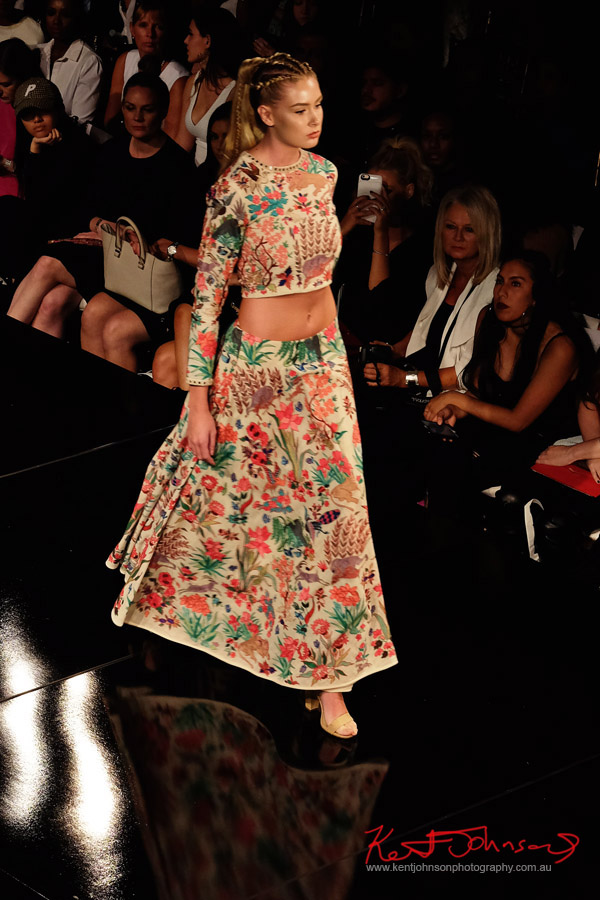 Richly embroidered long sleeve crop top with matching maxi skirt. Purvi Doshi shows at New York Fashion Week with Art Hearts Fashion. Photography by Kent Johnson for Street Fashion Sydney.