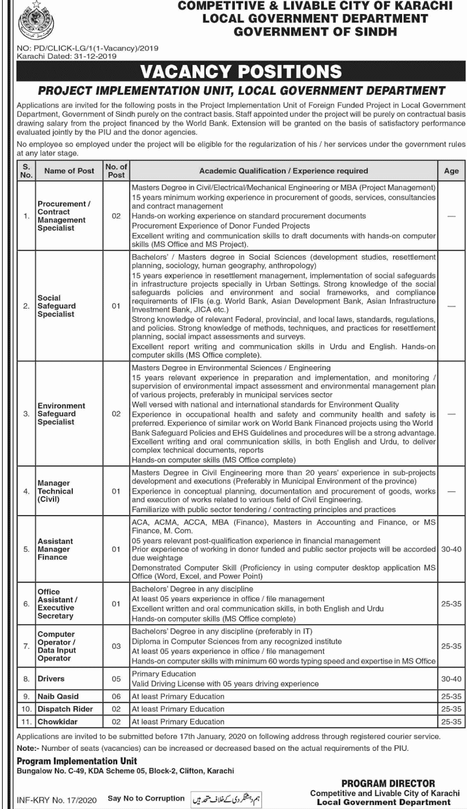 Jobs in Local government Department Govt of Sindh 2020