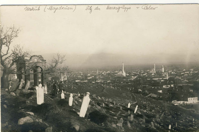 Turkish cemetery on the northwest part of Bitola. In the distance can be seen: the Clock Tower, Yeni Mosque, Isak Mosque and Besim Pasha Mosque. In the description of postcard, by mistake, stands Uskub (Skopje) (Mazedonien)