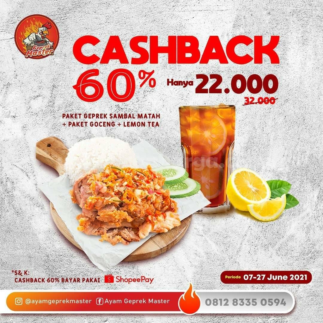 Promo Ayam Geprek Master Cashback 60% pakai ShopeePay