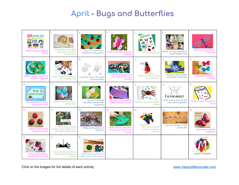 April kids activity calendar.  Bug and butterfly themed art craft and activity ideas for toddlers and preschoolers.