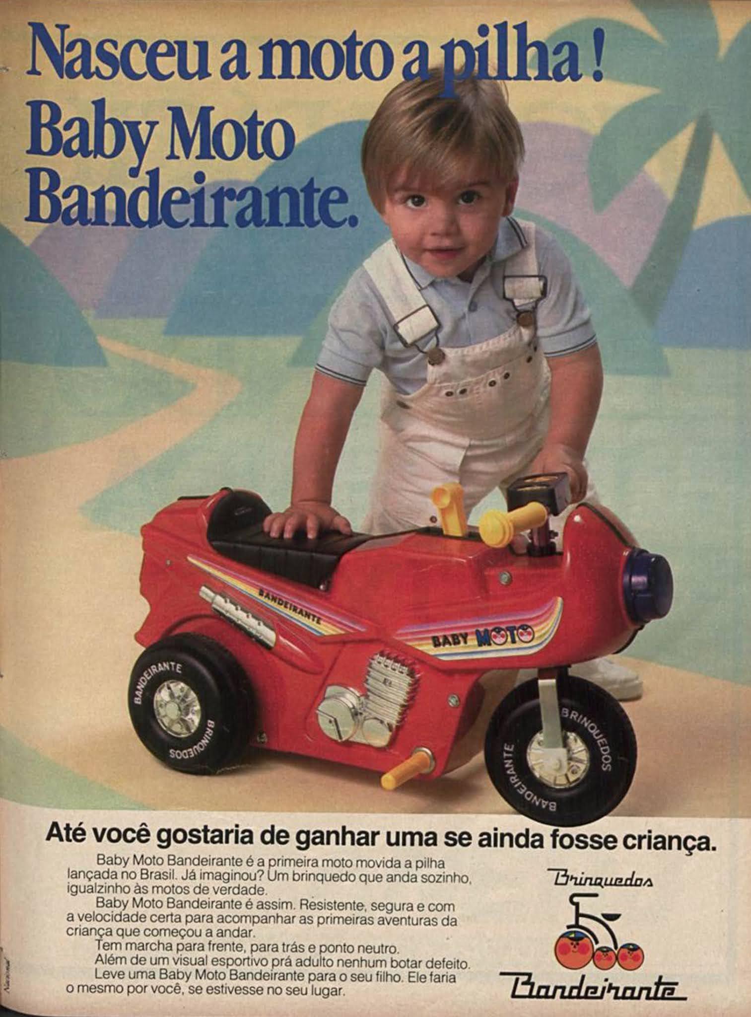 Propaganda antiga da moto a pilha para crianças da Bandeirante em 1985