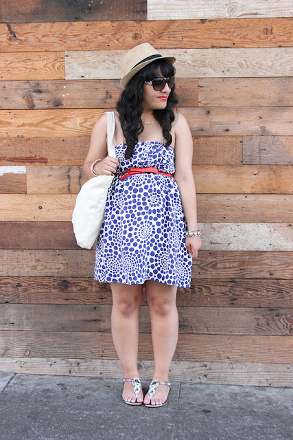 Alice + Olivia Polka Dot Dress and Orange Bow Outfit
