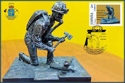 Tarjeta con sello personalizado y matasellos de la Brigada Central de Salvamento Minero en su centenario, Sama de Langreo, Grucomi 2012
