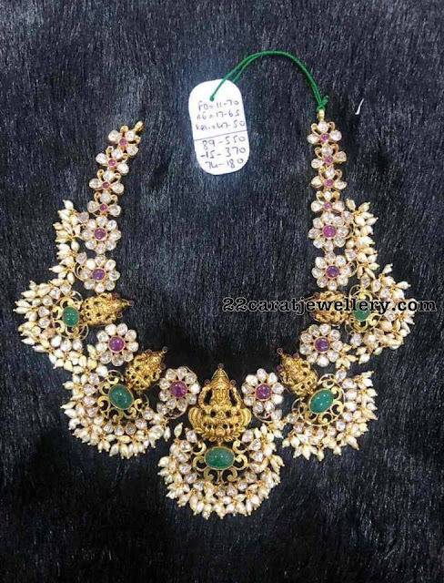 Lakshmi Necklace with Rice Pearls