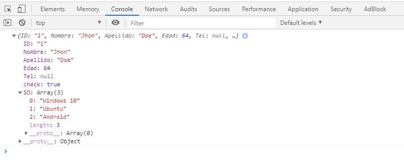 Atributo arreglo en objeto JSON