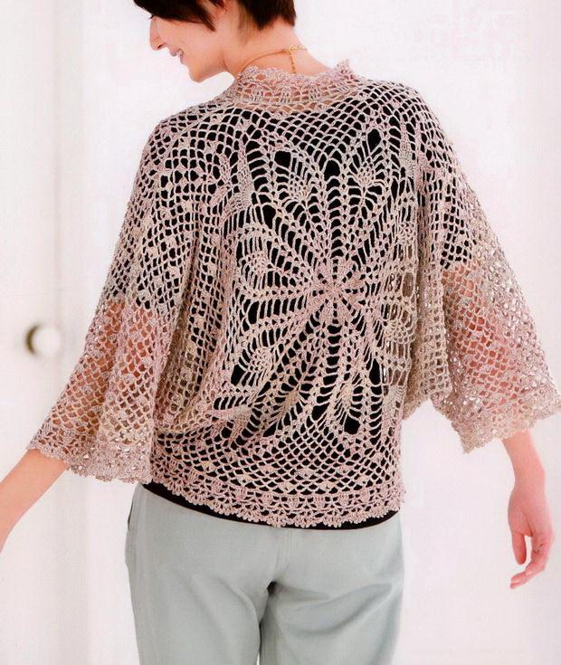Crochet lace sweater for women with pattern