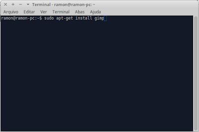 """Terminal com o comando """"sudo apt-get install gimp"""" digitado"""