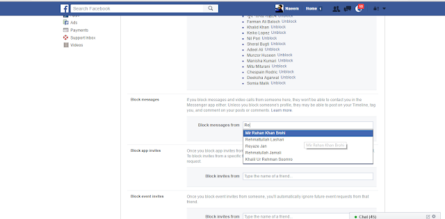 Facebook Blocking Settings Messages here