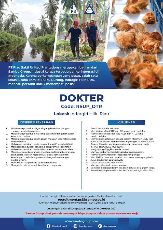 Loker Dokter Sambu Group Lokasi Indragiri Hilir, Riau