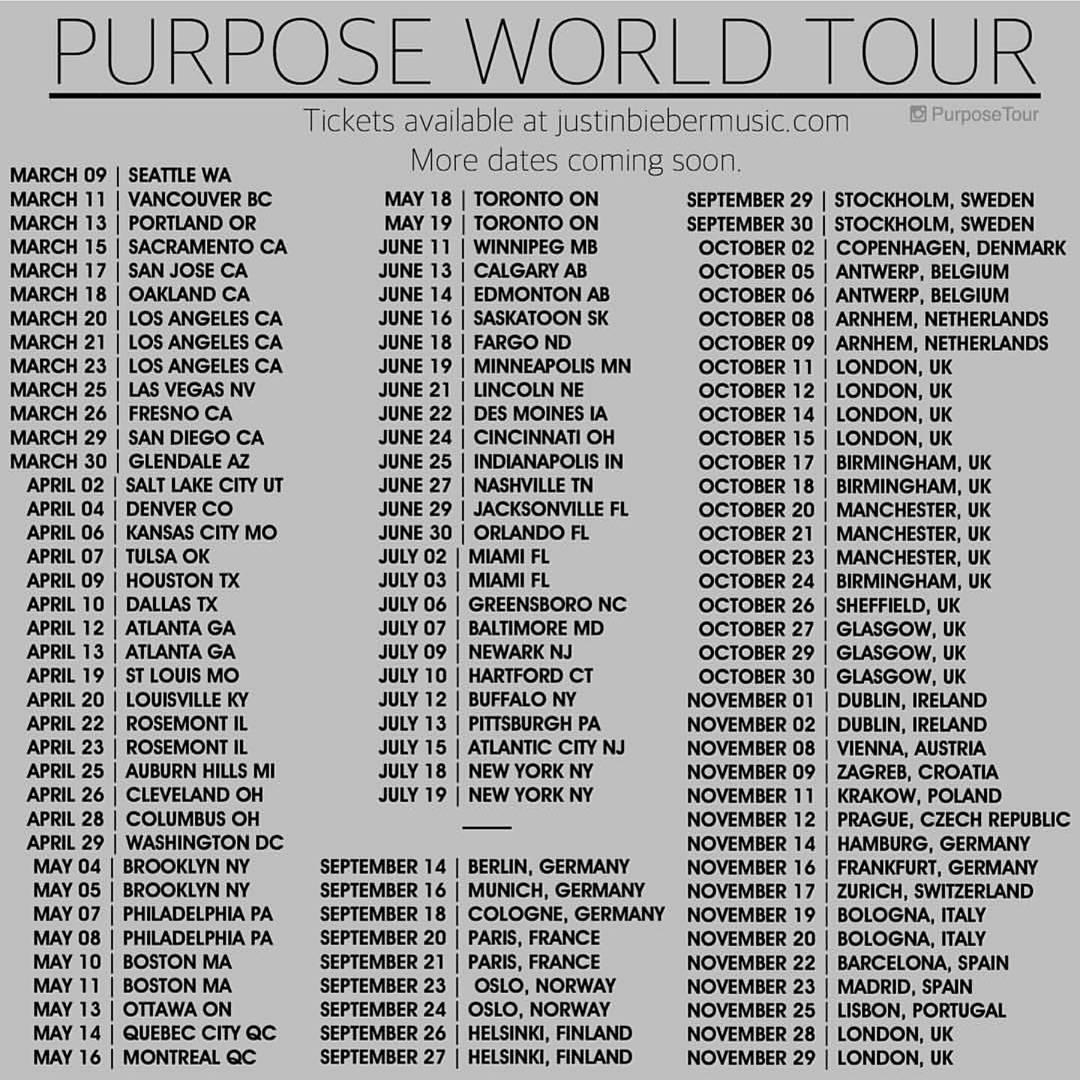 Justin bieber world tour dates