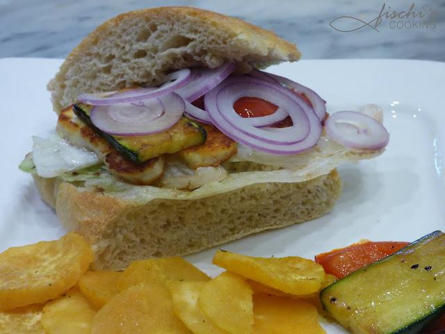 fischiscooking, sandwich, halloumi, süßkartoffelchips
