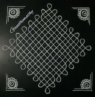 corner dot rangoli design for diwali