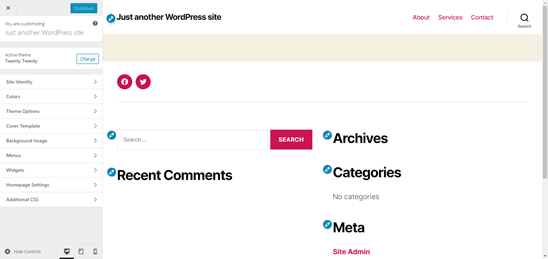 WordPress Theme Customizer (Desktop View)