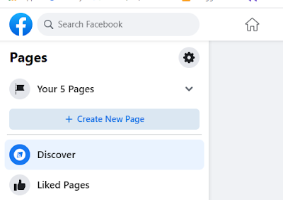 Facebook page create option
