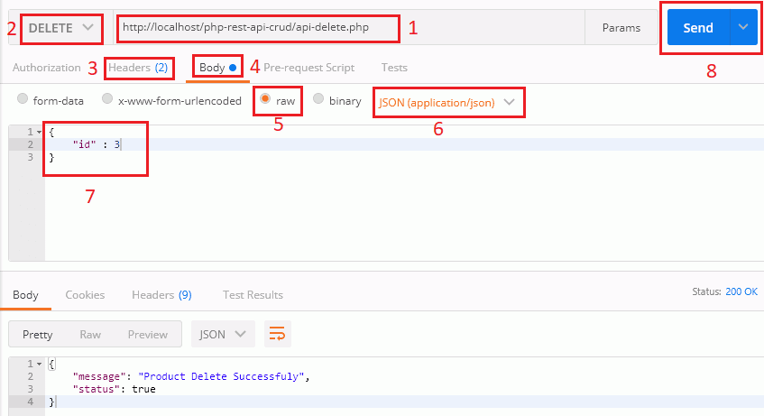 Delete Particular Product Record from Postman Tool