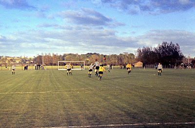 An action picture from the game between Brigg Town Football Club and Hull City at The Hawthorns in the 1970s - see Nigel Fisher's Brigg Blog