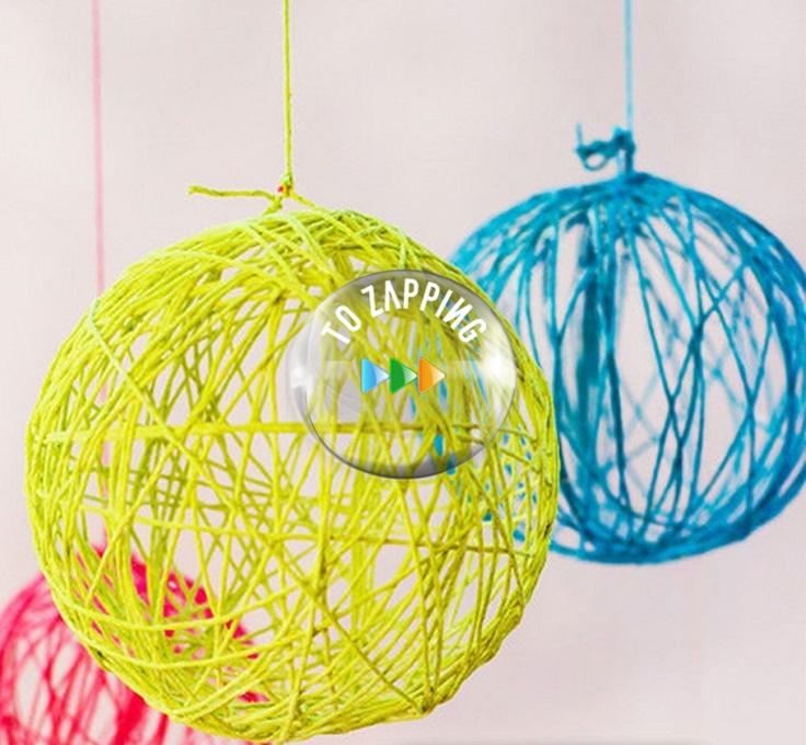 Como hacer esferas de navidad con hilo - Hacer bolas de navidad ...