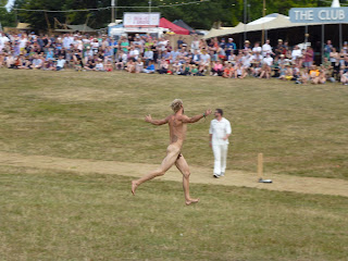 streaker at a cricket match british summer festival