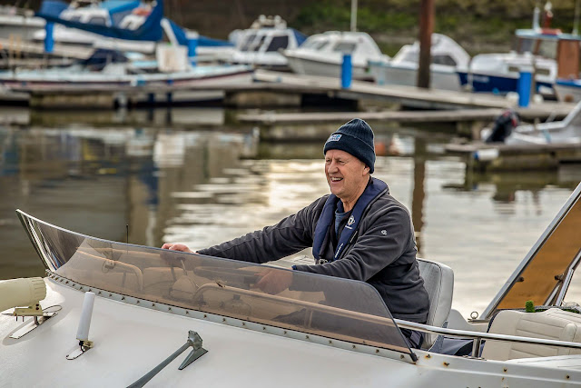 Photo of Phil steering Ravensdale out of the marina. Photo by Glyn Jones