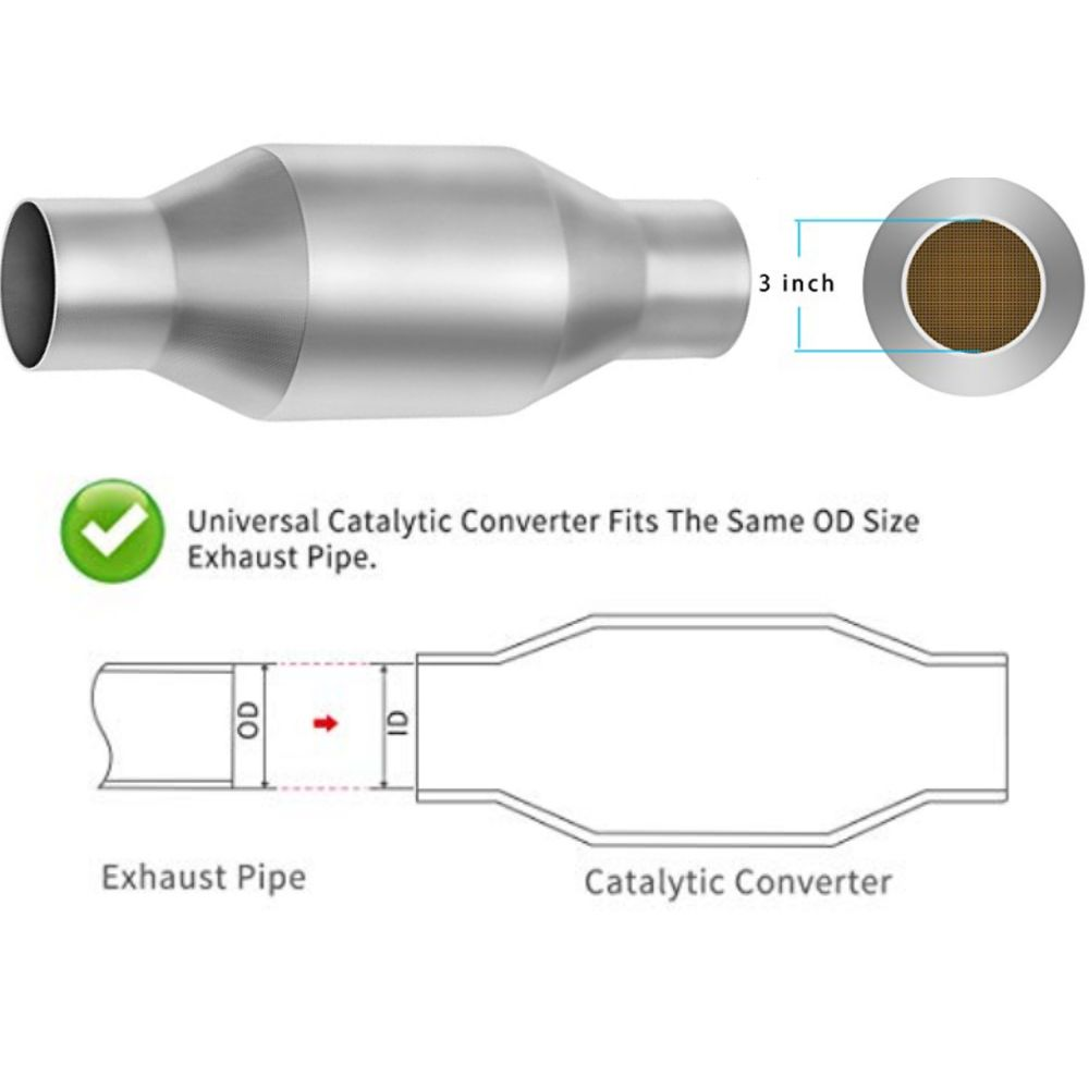 Autosaver88 Car Catalytic Converter - Universal Fit for 3Inch Inlet/Outlet Vehicle Exhausts - Steel Body with Ceramic Substrates