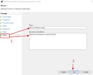 Regola personalizzata firewall - Cortana 7