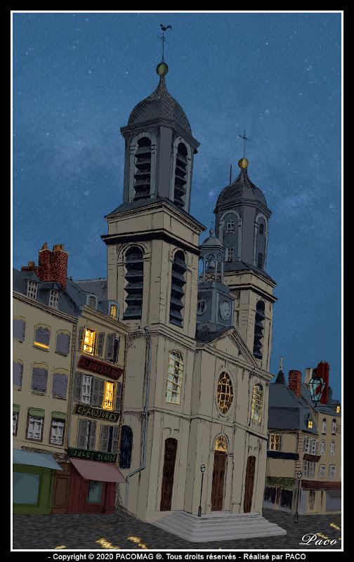 dessin église Saint Charles de Sedan dessin de nuit