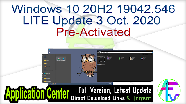 Windows 10 20H2 19042.546 LITE Update 3 Oct. 2020 Pre-Activated
