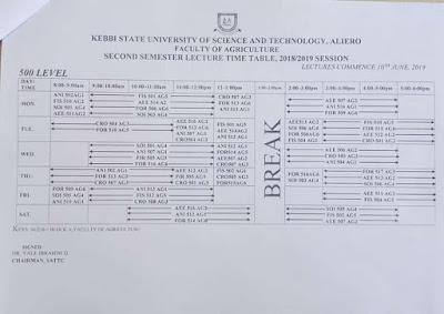 KSUSTA Lecture Time-Table 2nd Semester 2018/2019   Undergraduate