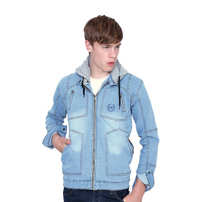Jaket Jeans Hoodie Pria Catenzo BE 068