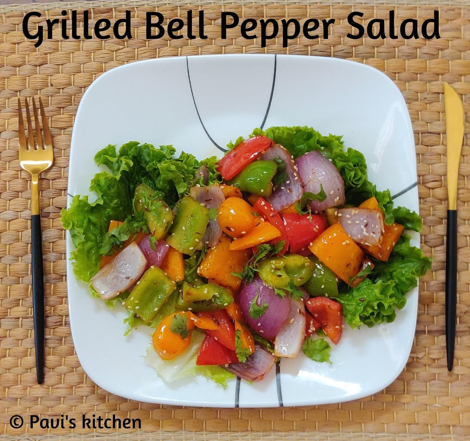Grilled Bell Pepper Salad Recipe / Grilled Capsicum Salad Recipe