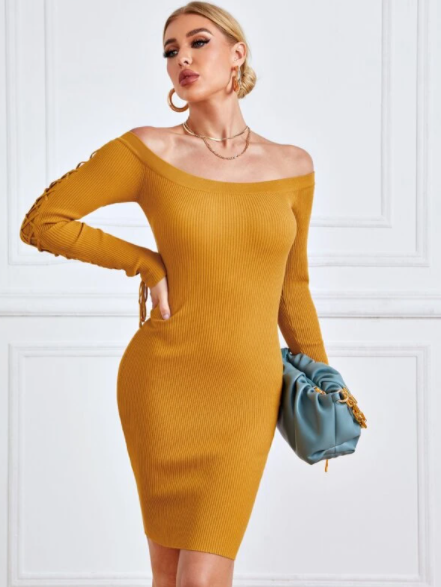 Mustard yellow lace up sleeves sweater dress
