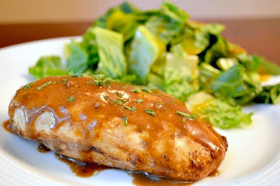 Roasted chicken breasts with balsamic vinegar vinaigrette